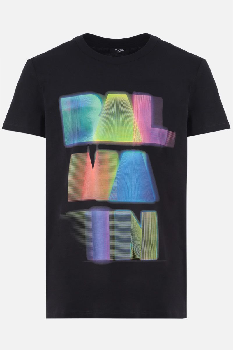 BALMAIN: Balmain logo print cotton t-shirt Color Multicolor_1
