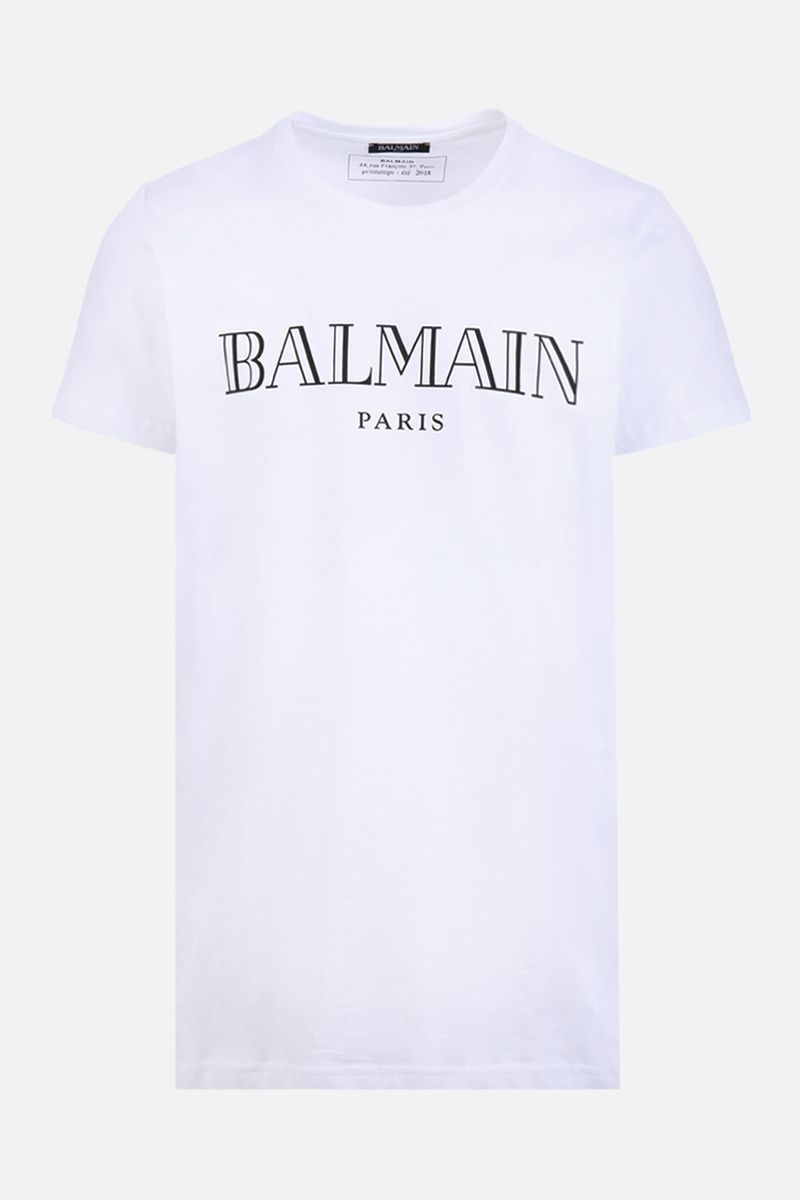 BALMAIN: Balmain Paris print cotton t-shirt Color White_1