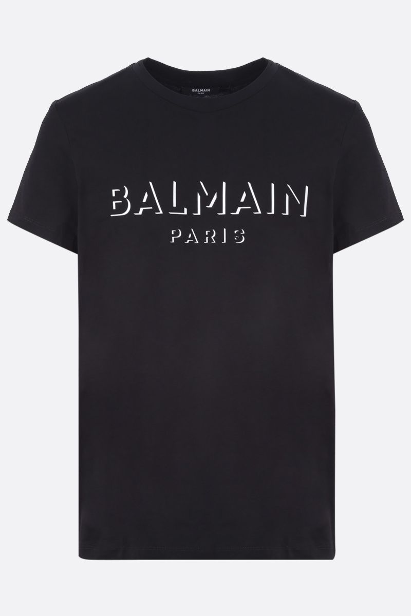 BALMAIN: 3D-effect Balmain logo print cotton t-shirt Color Black_1