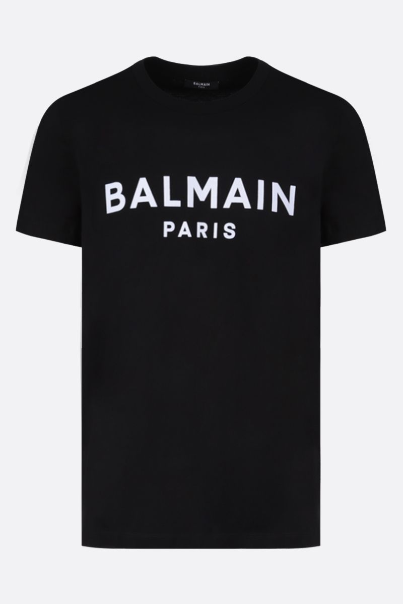 BALMAIN: Balmain logo print cotton t-shirt Color Black_1