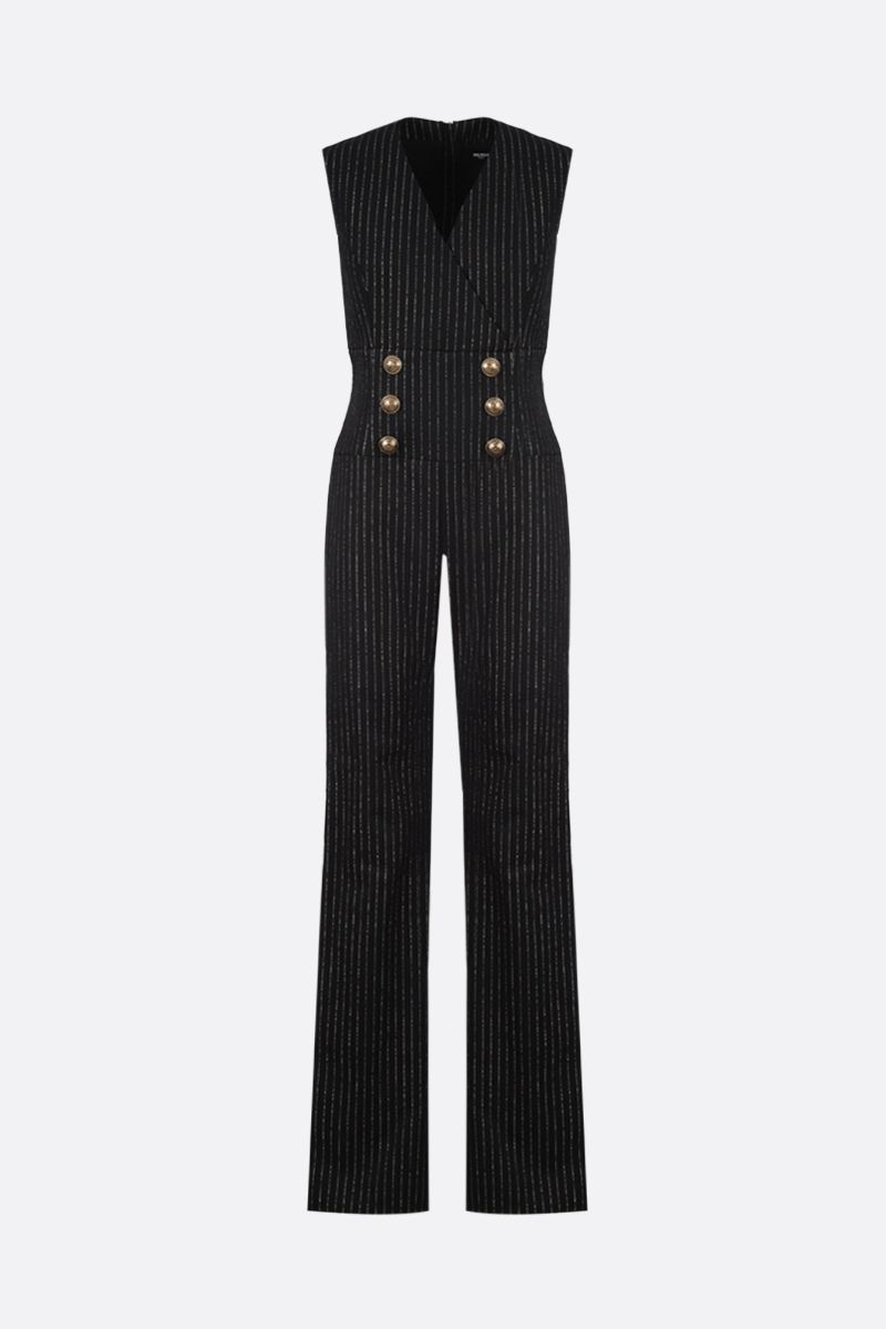 BALMAIN: pinstriped wool and lurex sleeveless jumpsuit Color Black_1