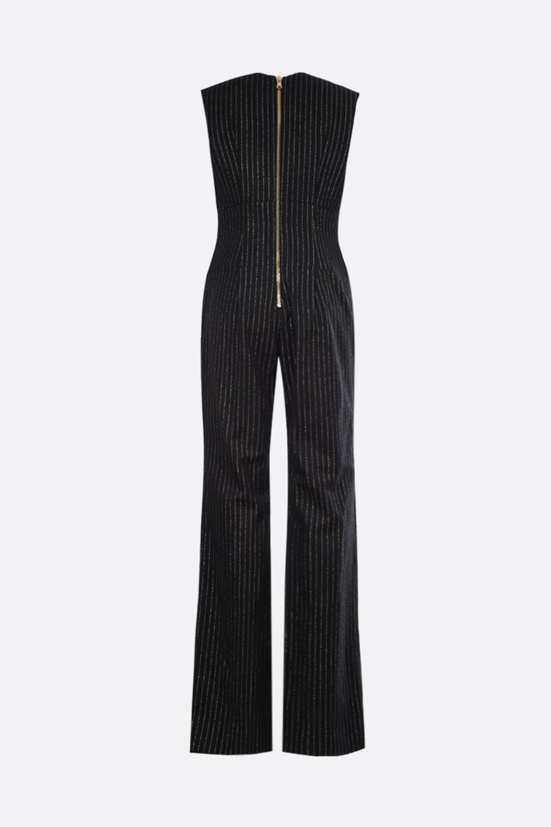 BALMAIN: pinstriped wool and lurex sleeveless jumpsuit Color Black_2