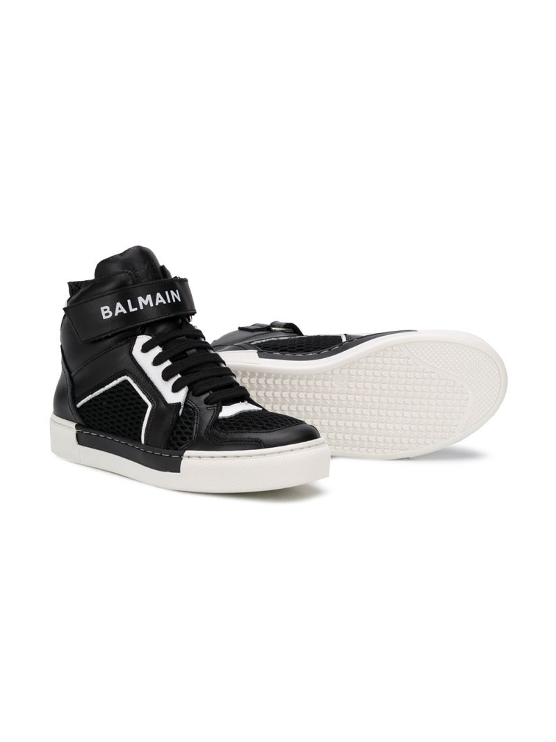 BALMAIN KIDS: smooth leather and mesh high-top sneakers Color Black_2