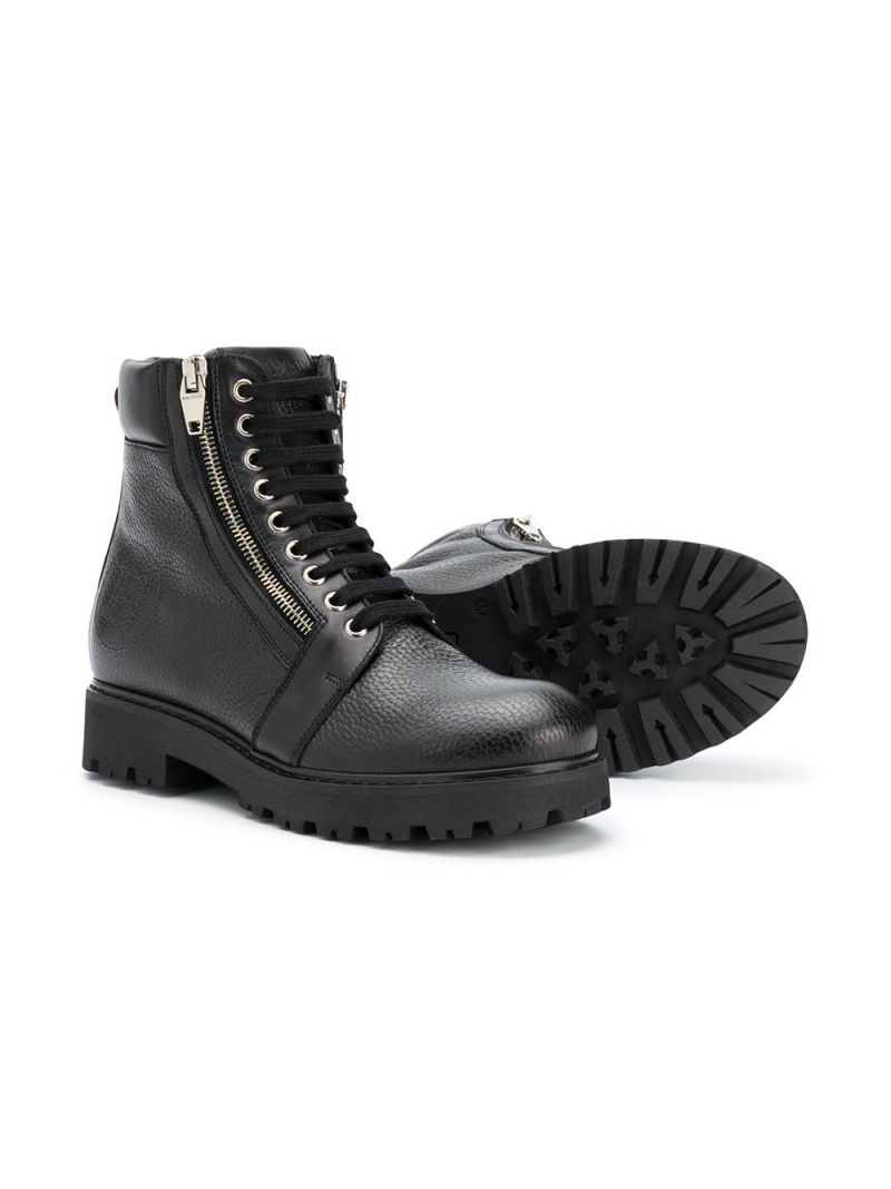 BALMAIN KIDS: grainy leather combat boots Color Black_2