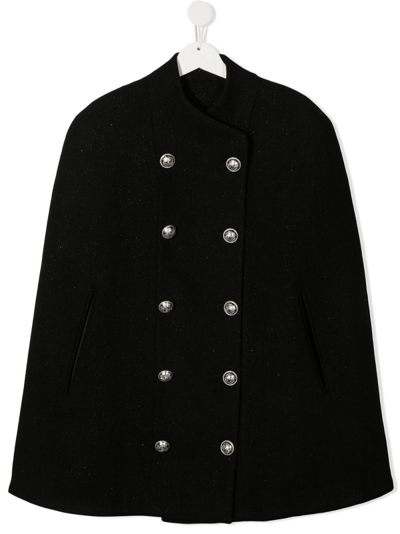 BALMAIN KIDS: double-breasted wool blend cape Color Black_1