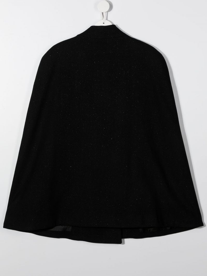 BALMAIN KIDS: double-breasted wool blend cape Color Black_2