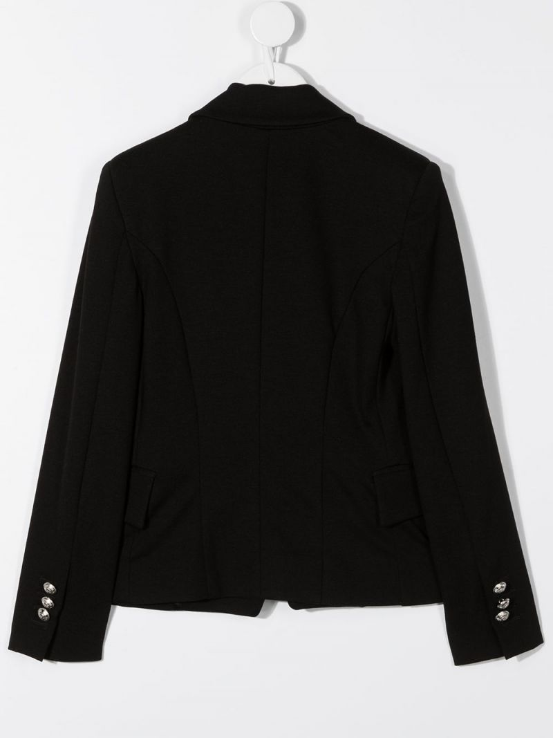 BALMAIN KIDS: lyocell double-breasted jacket Color Black_2