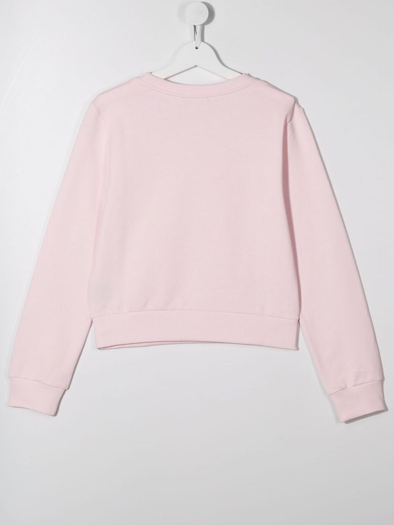 BALMAIN KIDS: Balmain logo print cotton sweatshirt Color Pink_2
