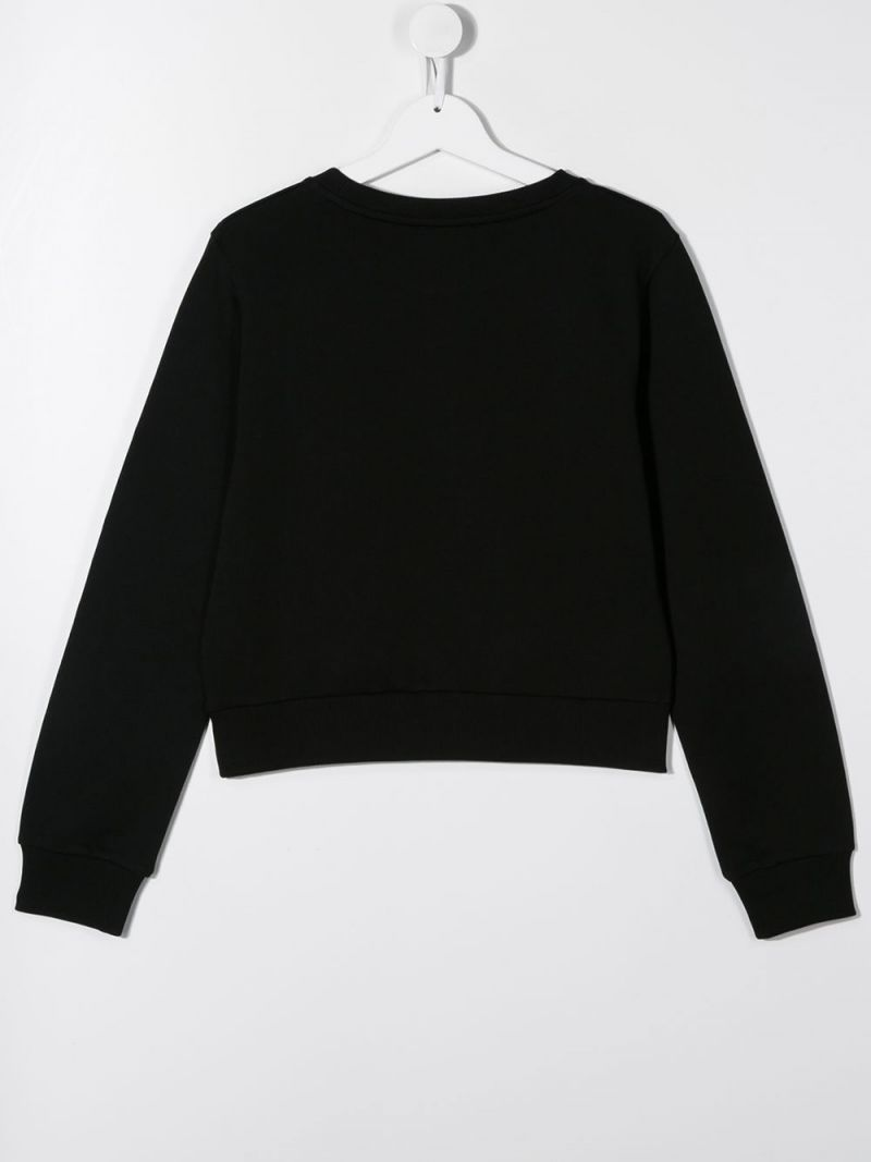 BALMAIN KIDS: Balmain logo print cotton sweatshirt Color Black_2