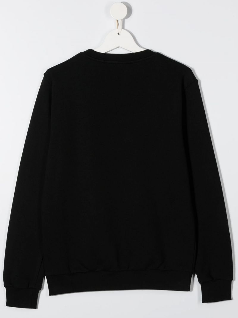 BALMAIN KIDS: Balmain embroidered cotton swetshirt Color Black_2