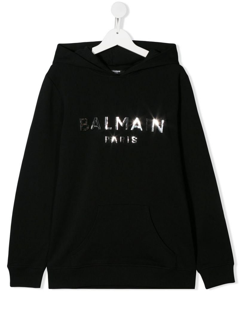 BALMAIN KIDS: Balmain logo print cotton hoodie Color Black_1