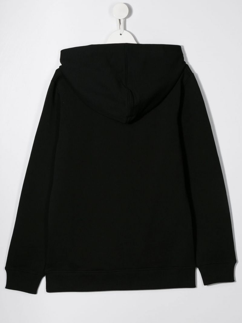 BALMAIN KIDS: Balmain logo print cotton hoodie Color Black_2
