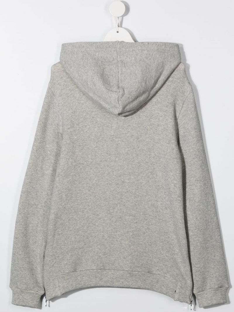 BALMAIN KIDS: Balmain logo print cotton blend hoodie Color Grey_2