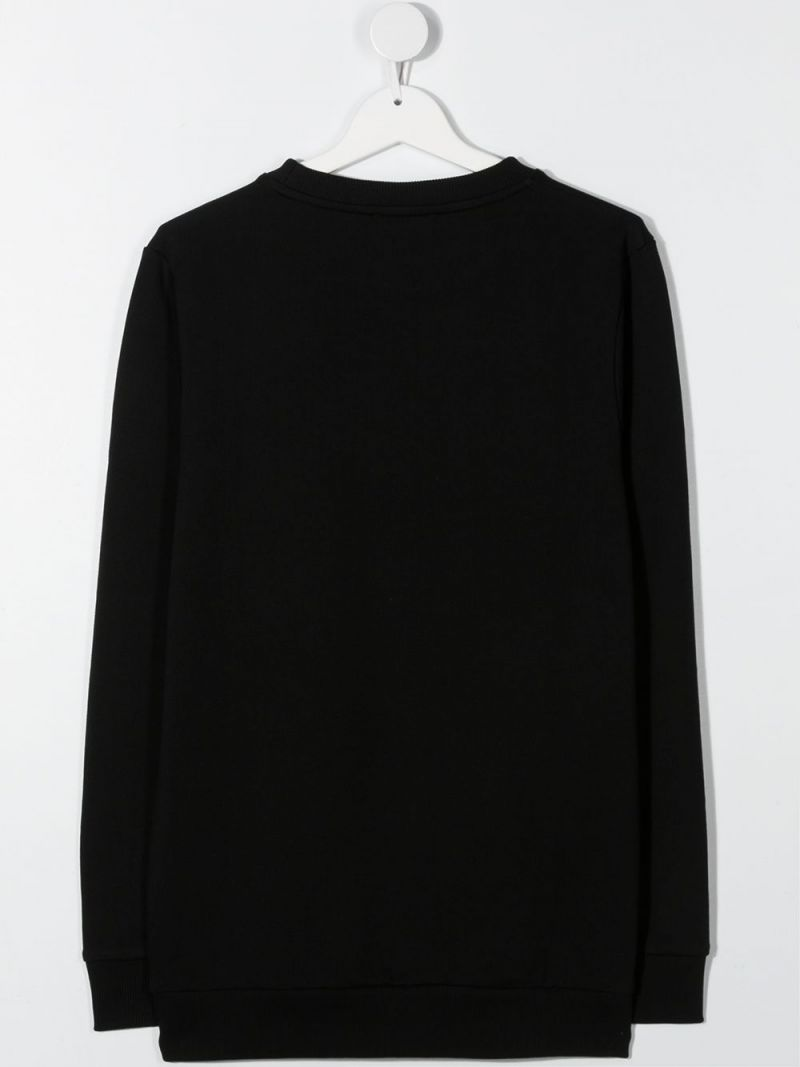 BALMAIN KIDS: Balmain Paris embroidered cotton sweatshirt Color Black_2
