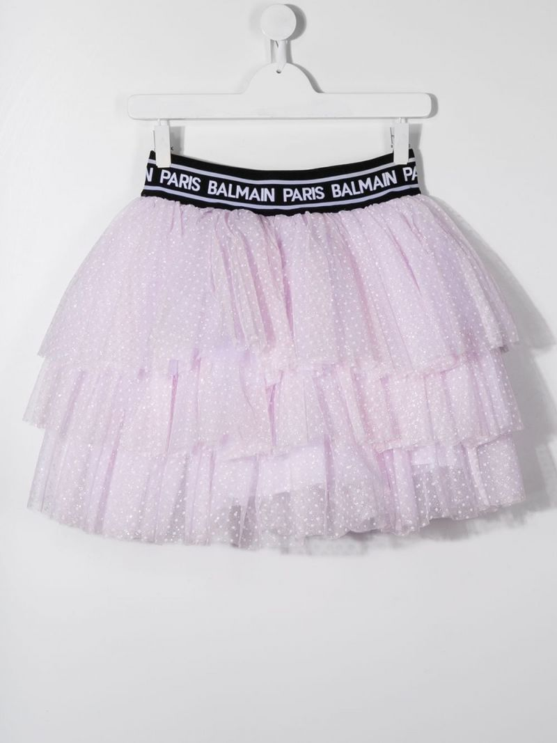 BALMAIN KIDS: plumetis tulle flounced skirt Color Pink_2