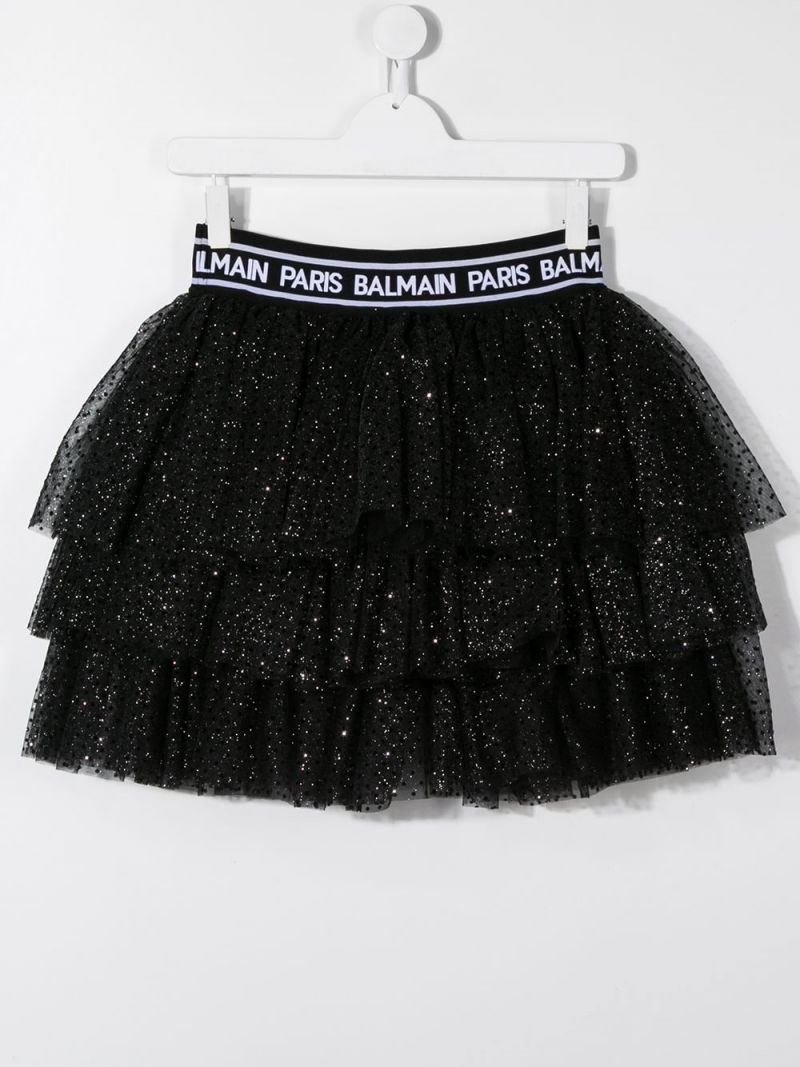 BALMAIN KIDS: gonna a balze in tulle plumetis Colore Nero_2