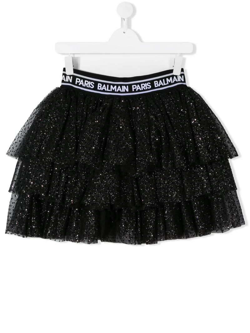 BALMAIN KIDS: gonna a balze in tulle plumetis Colore Nero_1