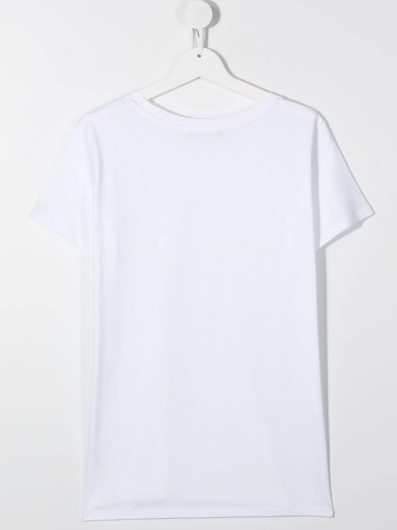 BALMAIN KIDS: Balmain Paris print cotton t-shirt Color White_2