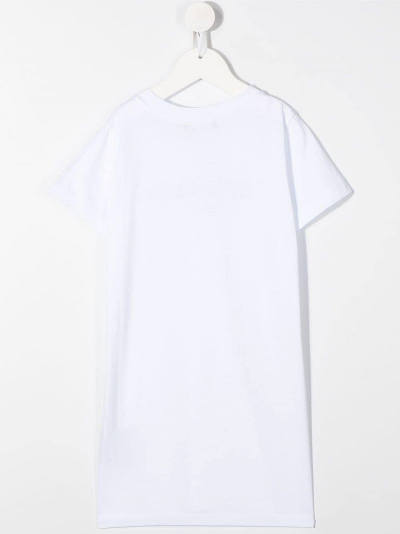 BALMAIN KIDS: Balmain logo print cotton t-shirt dress Color White_2
