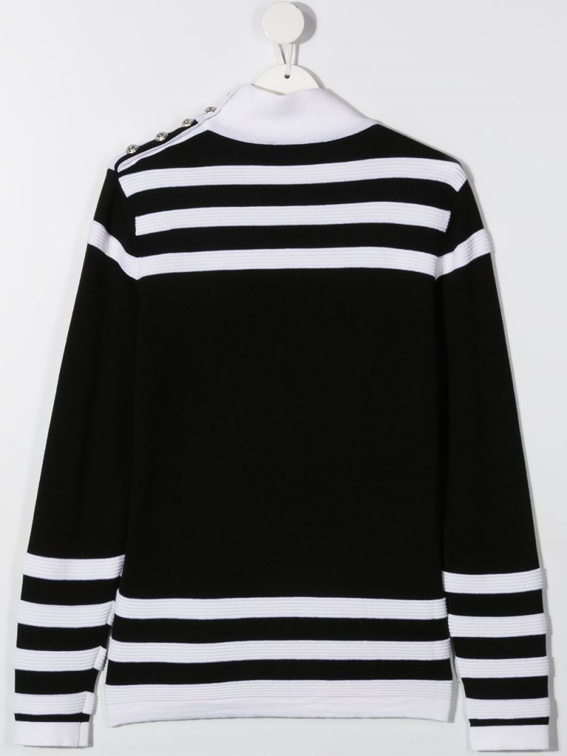 BALMAIN KIDS: Balmain logo print striped wool pullover Color Black_2