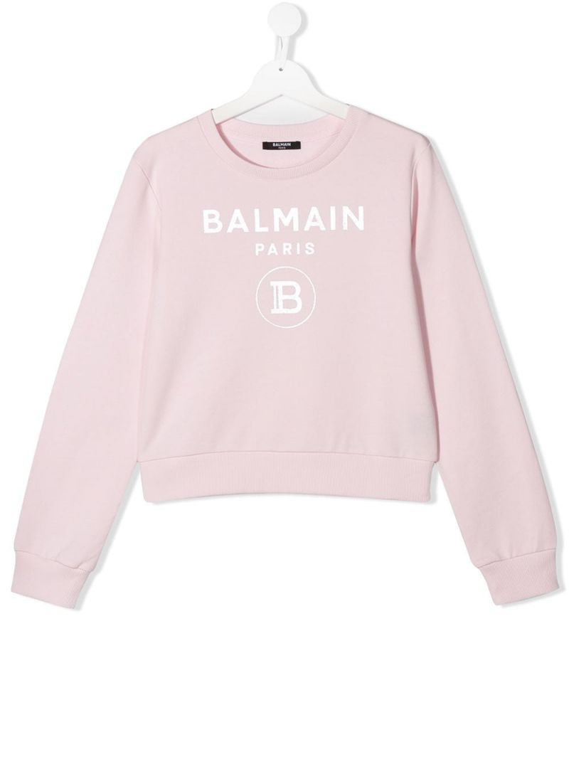 BALMAIN KIDS: Balmain logo print cotton sweatshirt Color Pink_1