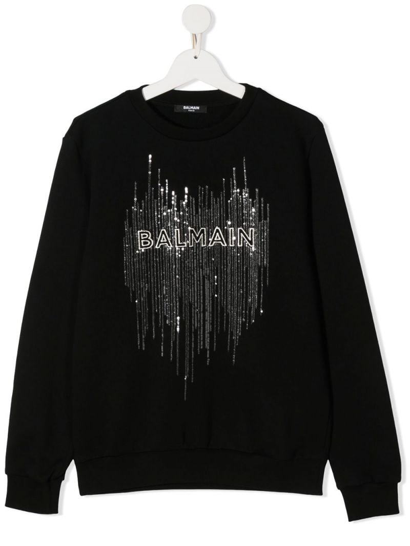 BALMAIN KIDS: Balmain embroidered cotton swetshirt Color Black_1