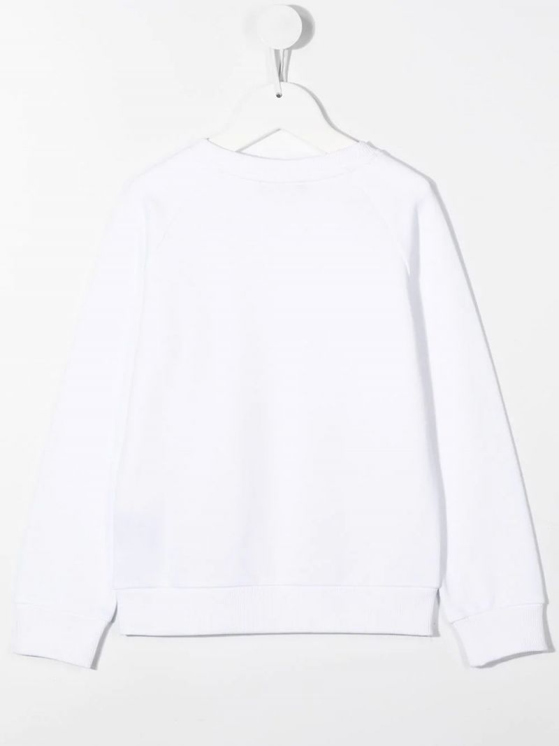 BALMAIN KIDS: Balmain logo print cotton sweatshirt Color White_2