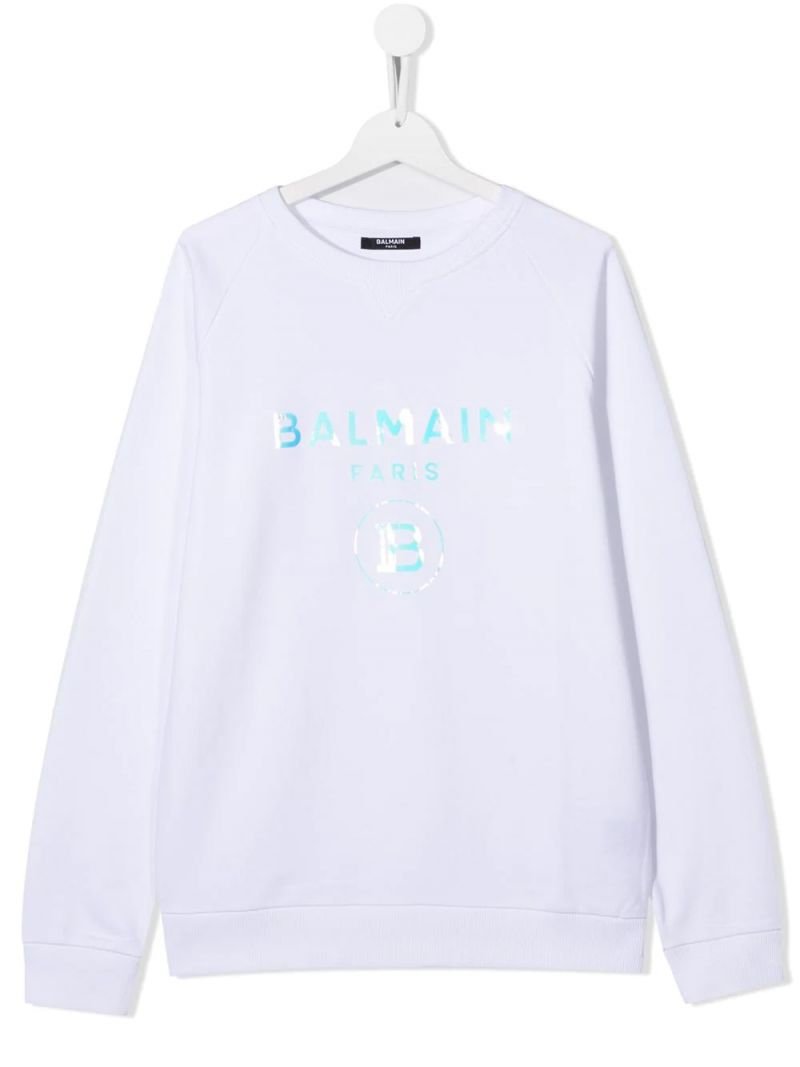 BALMAIN KIDS: Balmain logo print cotton sweatshirt Color White_1