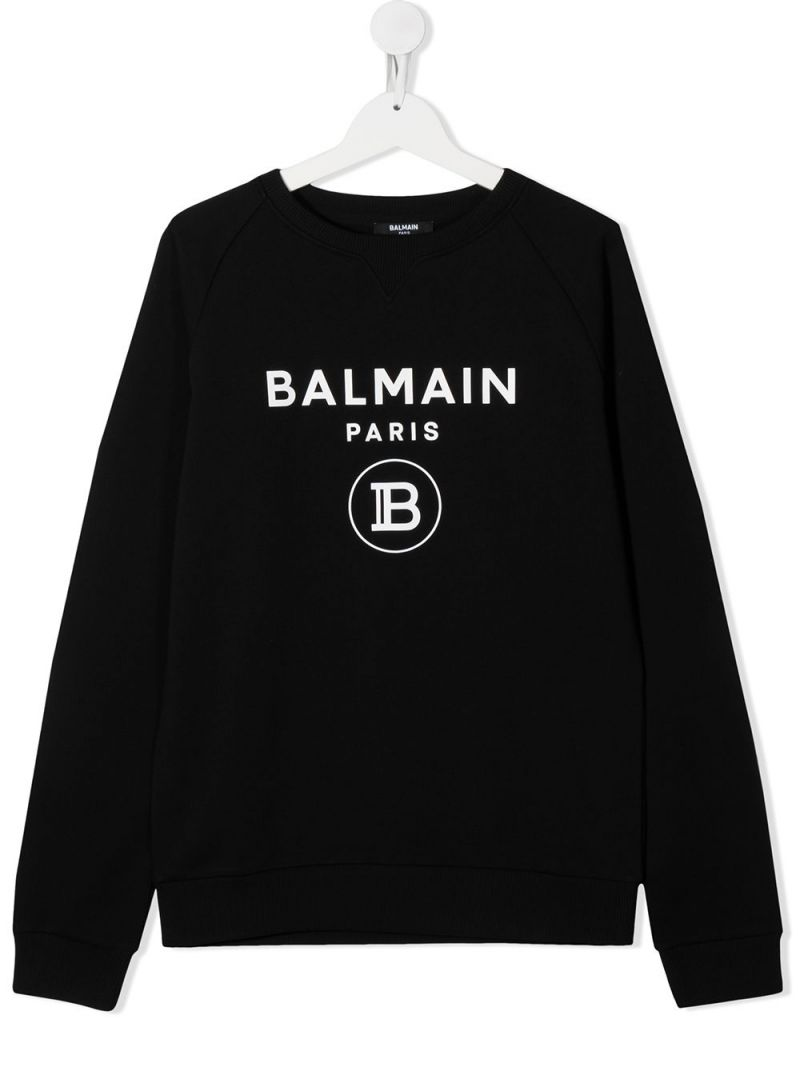 BALMAIN KIDS: Balmain logo print cotton sweatshirt Color Black_1