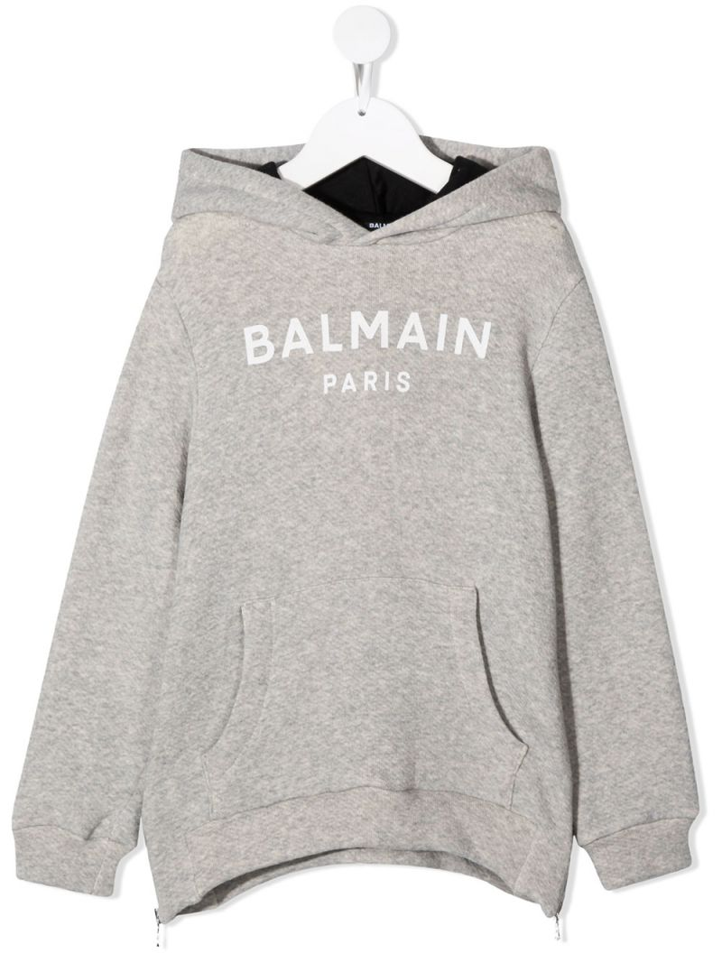 BALMAIN KIDS: Balmain logo print cotton blend hoodie Color Grey_1