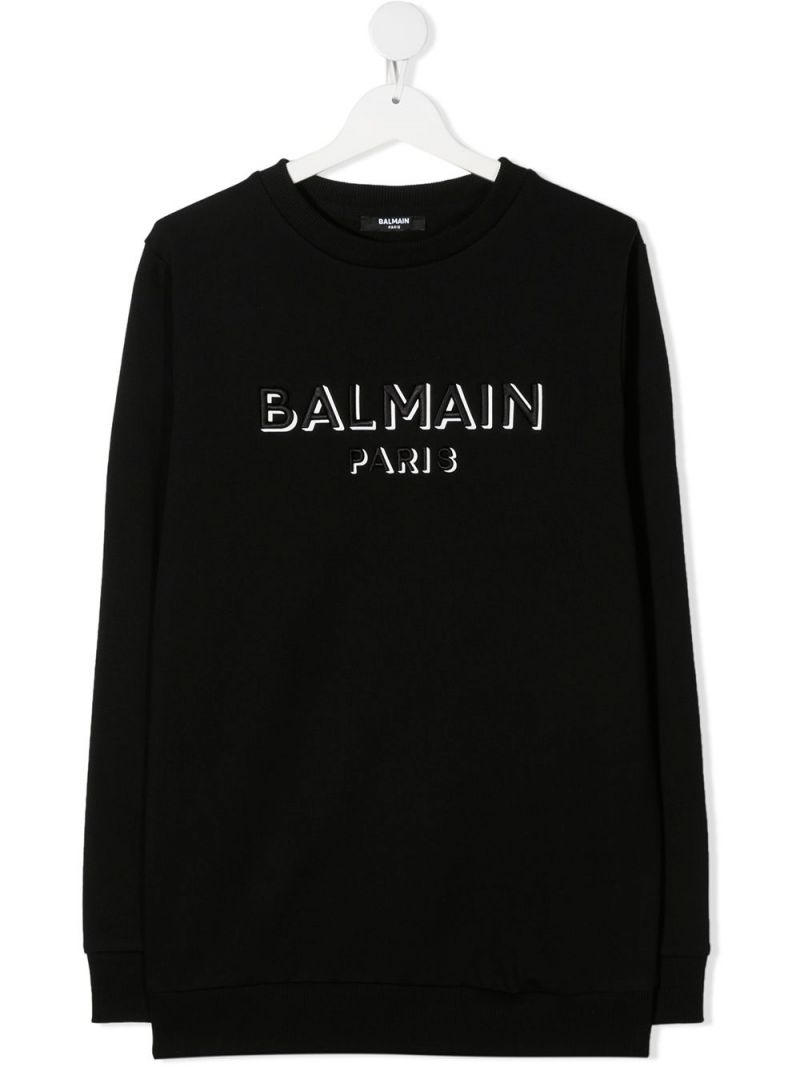 BALMAIN KIDS: Balmain Paris embroidered cotton sweatshirt Color Black_1