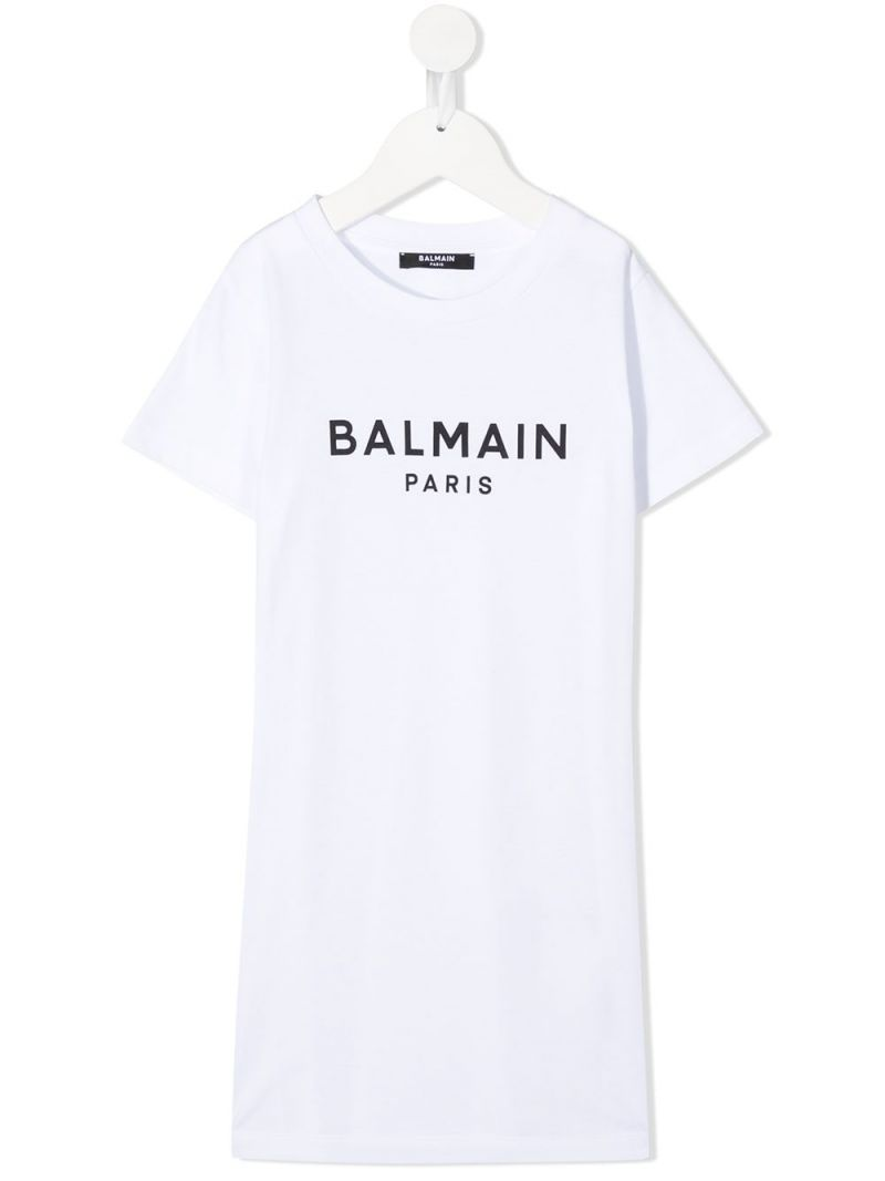 BALMAIN KIDS: Balmain logo print cotton t-shirt dress Color White_1