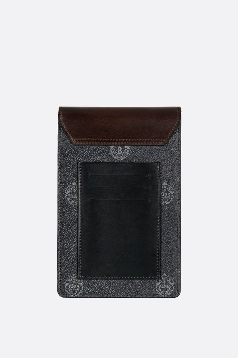 BERLUTI: Traveler canvas and smooth leather phone pouch Color Black_2