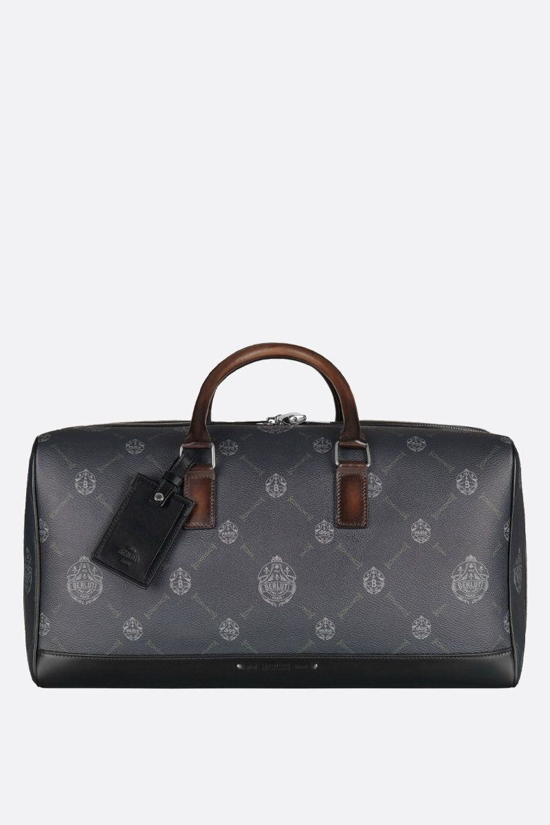BERLUTI: Adventure canvas and leather travel bag Color Black
