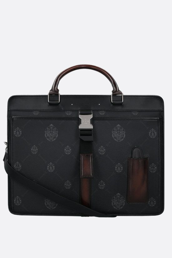 BERLUTI: Aviator canvas and smooth leather travel bag Color Black_1