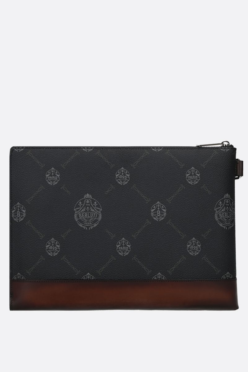 BERLUTI: Nino canvas and smooth leather pouch Color Black_2