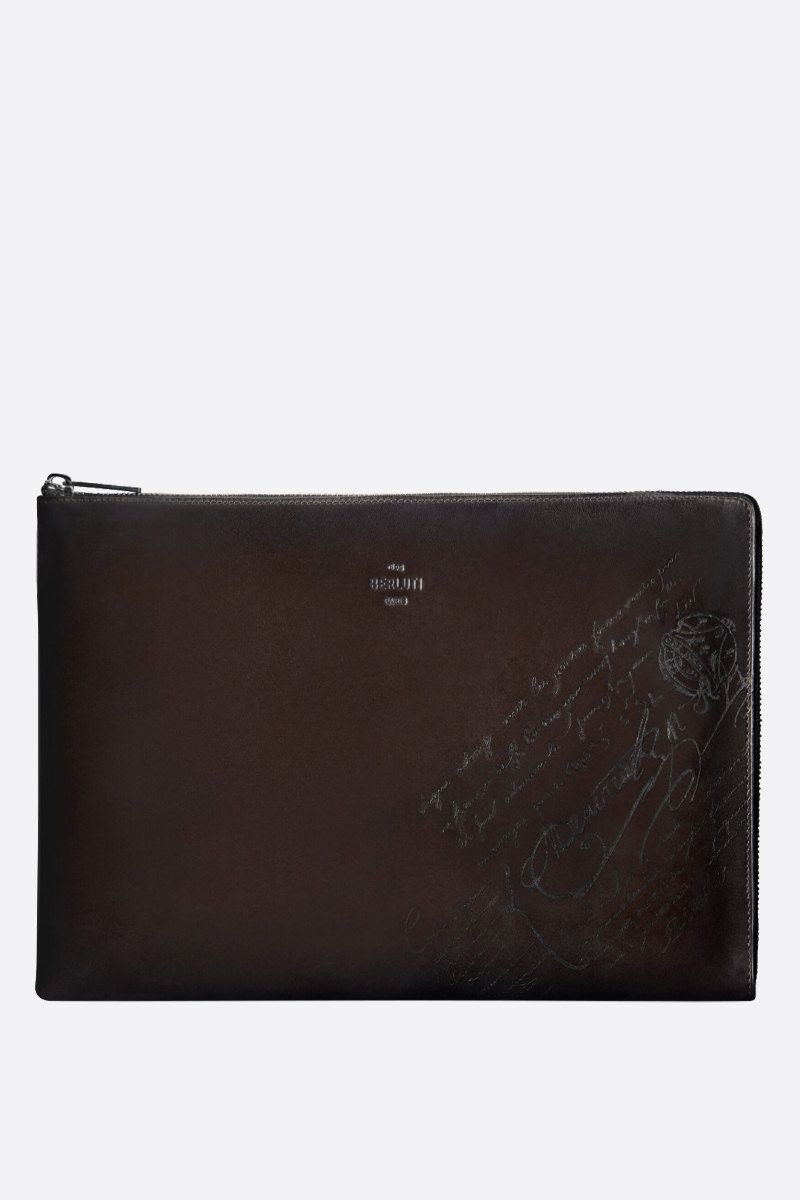 BERLUTI: Nino large pouch in Scritto leather Color Black