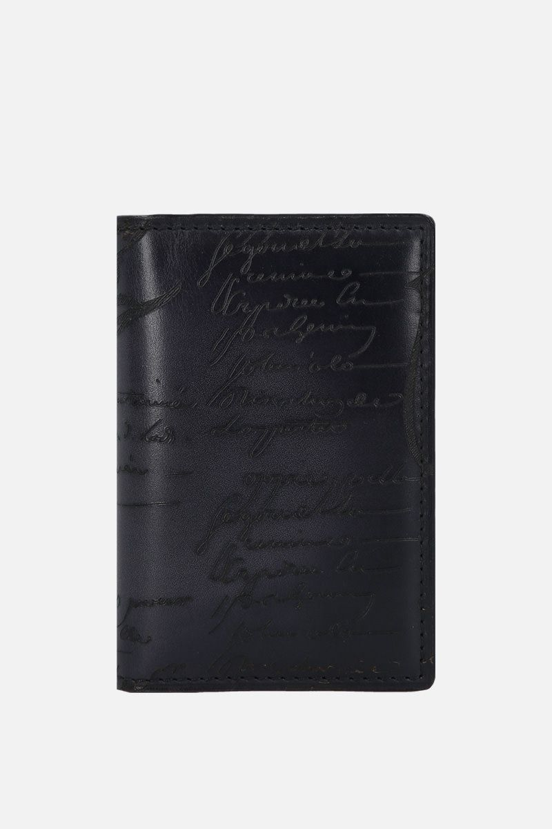 BERLUTI: Jagua card holder in Scritto leather Color Black_1