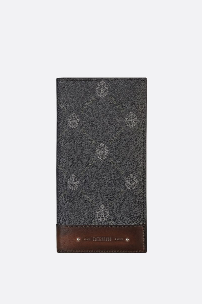 BERLUTI: Santal canvas and smooth leather vertical wallet Color Black_1
