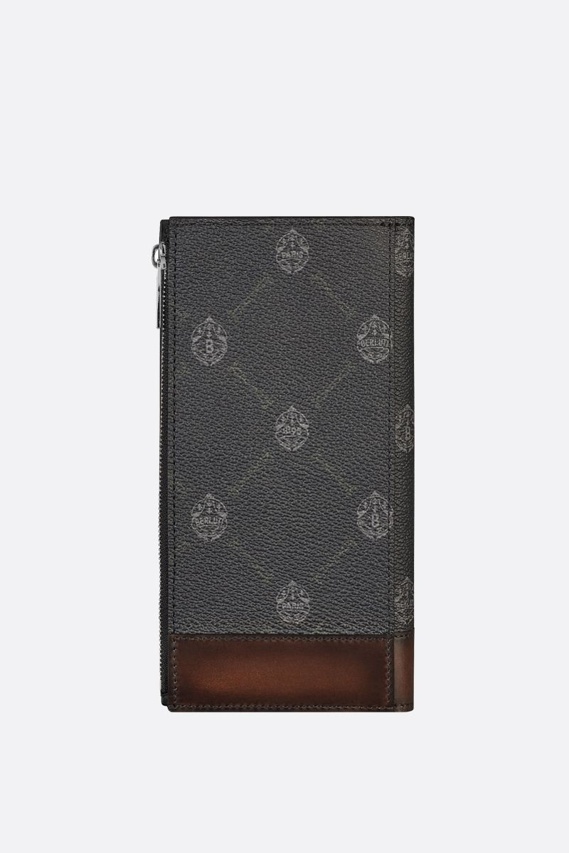 BERLUTI: Santal canvas and smooth leather vertical wallet Color Black_2