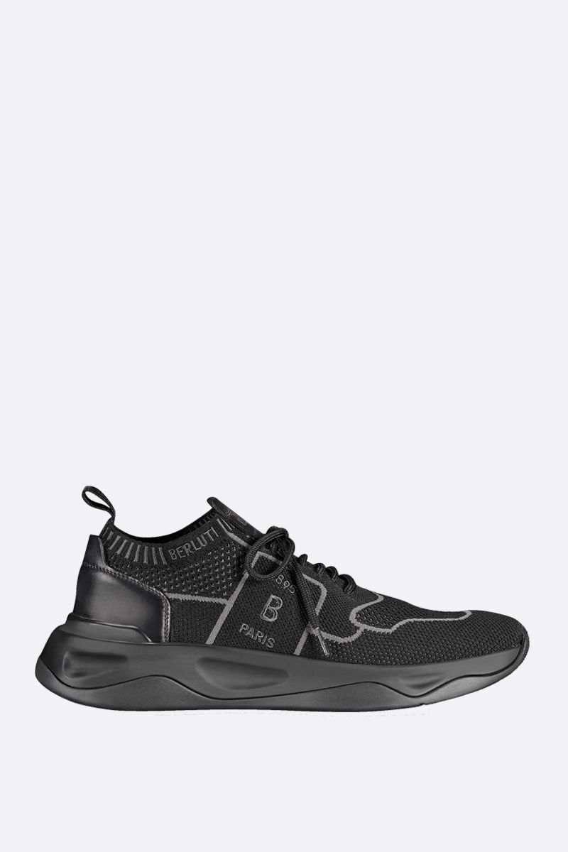 BERLUTI: Shadow technical knit and smooth leather sneakers Color Black_1