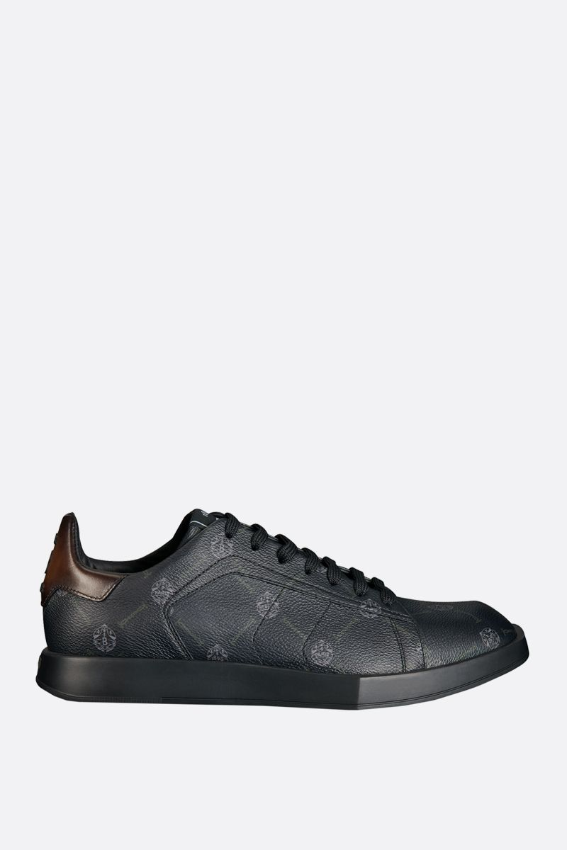 BERLUTI: Stellar canvas and smooth leather sneakers Color Black_1