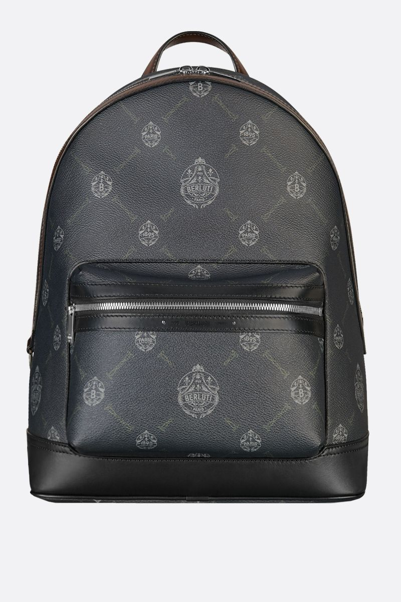 BERLUTI: Explorer medium canvas and smooth leather backpack Color Black_1