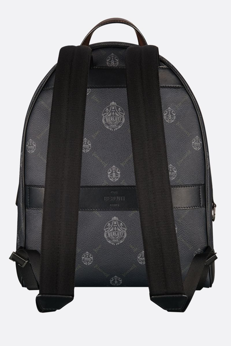 BERLUTI: Explorer medium canvas and smooth leather backpack Color Black_2