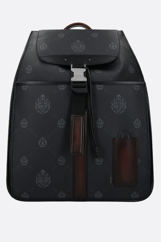 BERLUTI: Voyageur canvas and smooth leather backpack Color Black_1