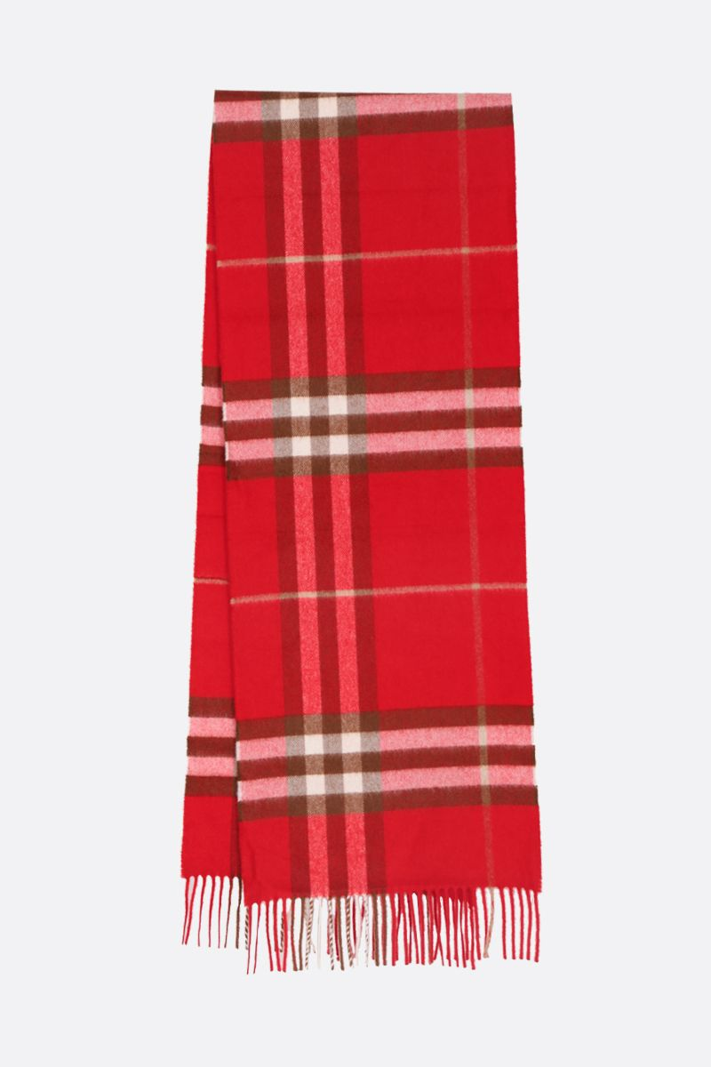 BURBERRY: Giant check cashmere scarf Color Red_2