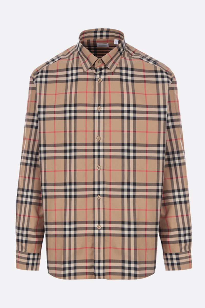 BURBERRY: camicia Caxcton in popeline Vintage check Colore Marrone_1