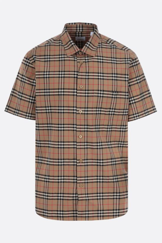 BURBERRY: camicia a maniche corte Simpson in cotone stretch Colore Marrone_1