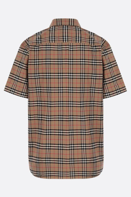 BURBERRY: camicia a maniche corte Simpson in cotone stretch Colore Marrone_2