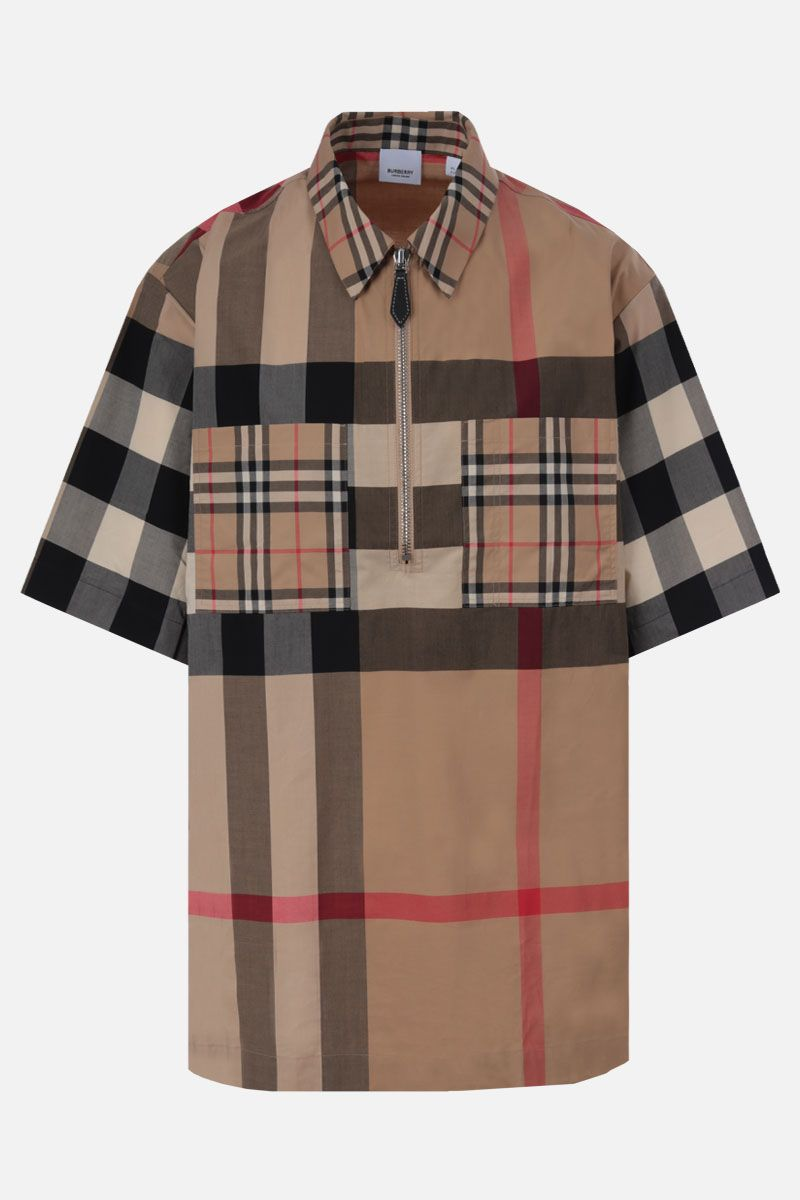 BURBERRY: camicia a maniche corte Durham in cotone stretch Colore Marrone_1